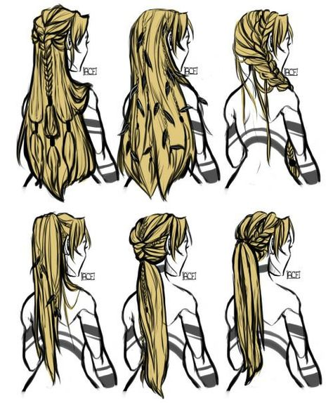 hair hair reference Choose an Elegant Waterfall Ha Drawing Techniques, Drawing Tips, Drawing Ideas, Hair Styles Drawing, Drawing Style, Long Hair Drawing, Braid Drawing, Hair Styles Anime, Anime Hair Drawing
