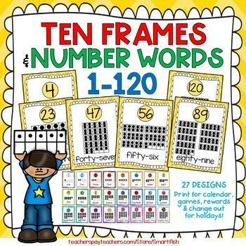Ten Frames And Number Word Posters 1 120 Yellow Chevron Word Poster Number Words Yellow Chevron