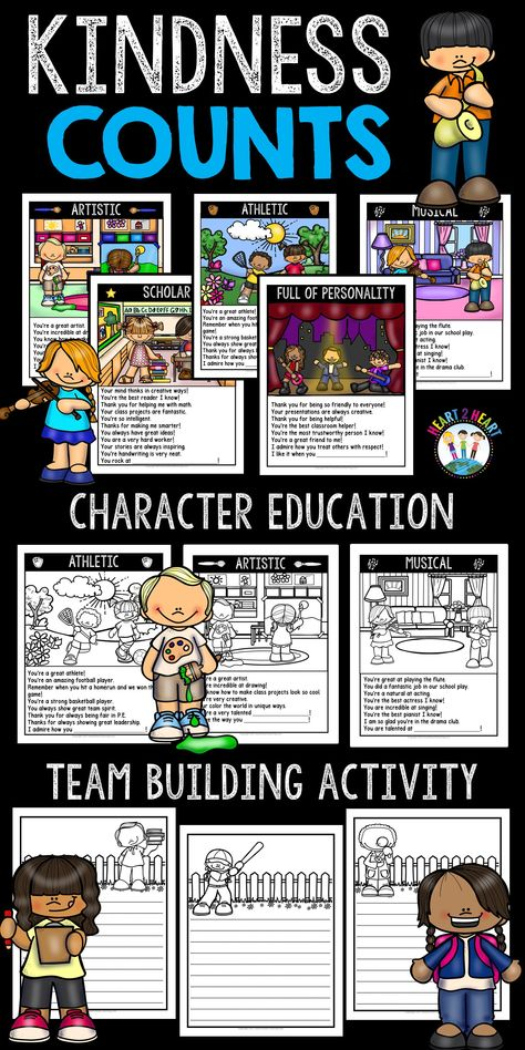 This character education and classroom-building activity teaches kindness in the classroom. Just print-n-go and you're ready to start! This is an excellent activity to build self-esteem in the classroom! It can be used anytime during the year and is a pe Kindness Activities, Writing Activities, Activities For Kids, Class Building Activities, Movement Activities, Physical Activities, 4th Grade Ela, Grade 1, Positive Self Talk