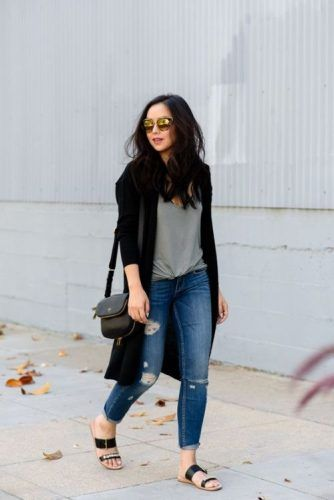 long cardigan with tee outfit- Cute and chic fall outfit ideas www.justtrendygir… long cardigan with tee outfit- Cute and chic fall outfit ideas www.