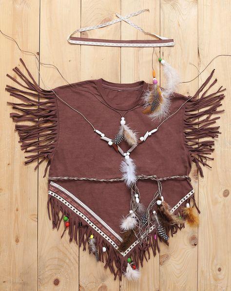 Indianerin T-Shirt Indianer Prinzessin mit Feder Kopfschmuck