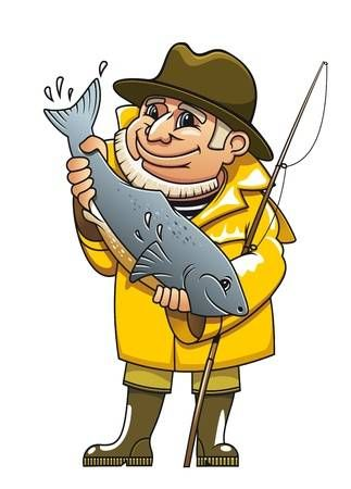 Smiling Fisherman In Cartoon Style Catching A Fish Cartoon Clip Art Cartoon Styles Cartoons Vector