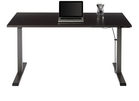 Realspace Magellan Performance Electric Height Adjustable Wood Desk Espresso By Office Depot Officemax Desk Wood Desk Height Adjustable