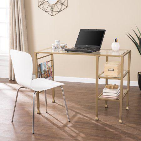 Jumpluff Gold Metal Glass Writing Desk Soft Gold Walmart Com Cheap Office Furniture Writing Desk Home
