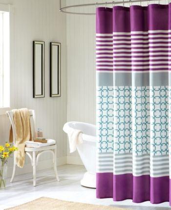 Intelligent Design Halo 72 X 72 Shower Curtain Purple Shower