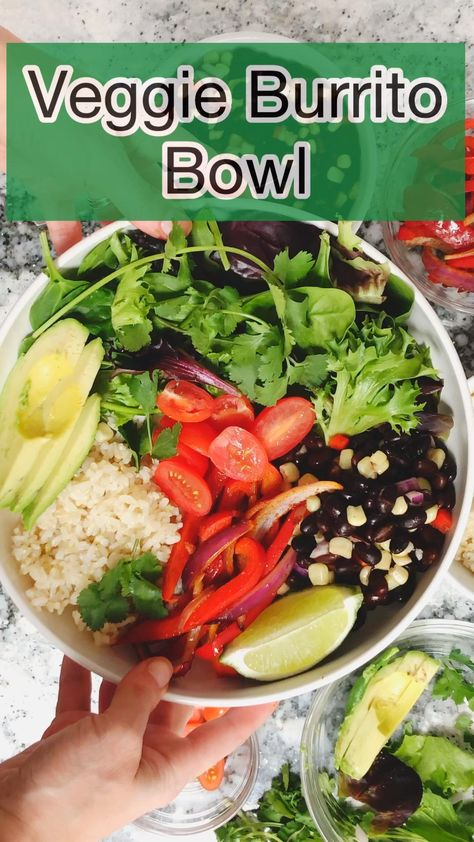 This veggie burrito bowl with fajita style vegetables, seasoned black beans, rice, and avocado is a simple and satisfying vegan and vegetarian meal. Done in 20 minutes