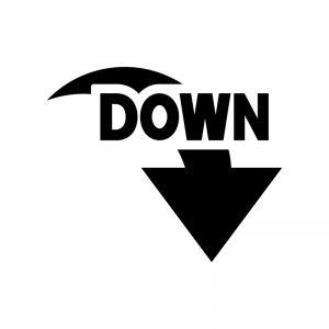 下降、down、ダウン、下がる、下、矢印 | シルエット イラスト, 白黒, イラスト