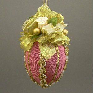 Fuschia and Roses Fabric Egg - Easter Egg Ornaments