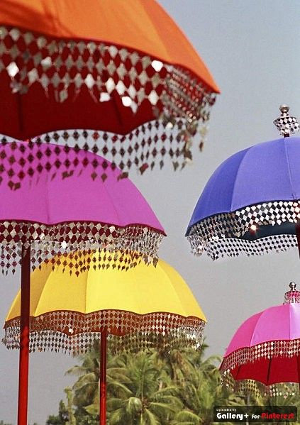 colorful decorated umbrellas