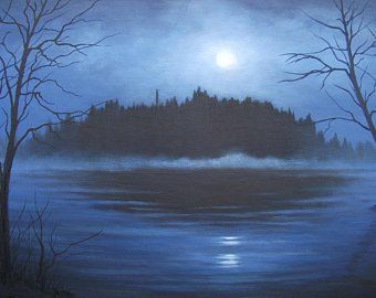 Waterfall In The Moonlight Lake Flowers Fantasy Woods Forest Night River Night Trees Landscape Oil Painting Oil Painting Landscape Original Landscape Landscape Scenery
