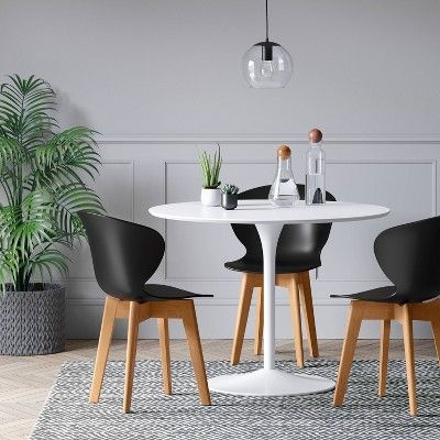 Set Of 2 Lever Plastic Dining Chair With Wood Legs Black Project 62