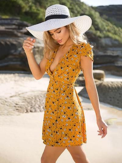 Floral Deep V-neck Mini Dress
