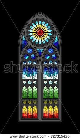 Vector Stained Gl Gothic Window Design Retail