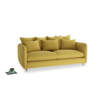 Large Podge Sofa In Maize Yellow Brushed Cotton In 2020 Sofa Upholstered Sofa Sofa Frame