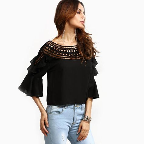 c533da106c384b Ruffle it up in this gorgeous black frill sleeve top! This top features  long frill sleeves