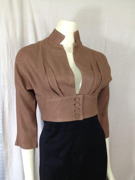 Vintage 1950s cropped bolero buttons Mandarin collar low cut Brown
