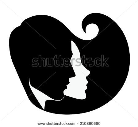 silhouette of the head of man and woman in profile - stock vector