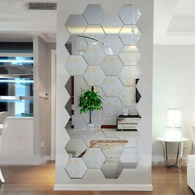Details About 3d Mirror Tiles Mosaic Wall Stickers Self Adhesive
