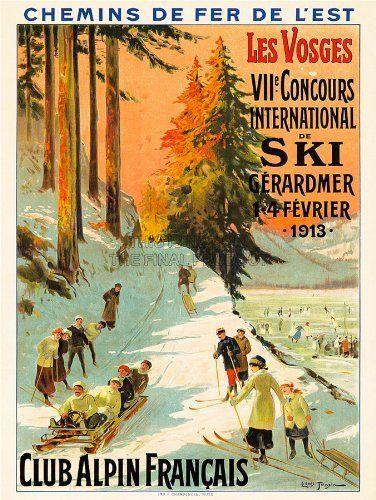 FRENCH ALPS WINTER SPORT SKI FASHION WHITE MOUNTAINS FRANCE VINTAGE POSTER REPRO