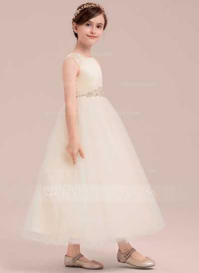 b3dfe51c6af2 A-Line Princess Ankle-length Flower Girl Dress - Satin Tulle ...