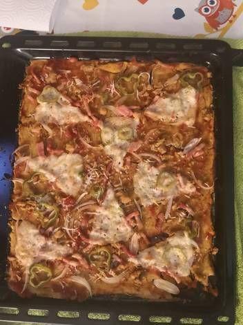 Pizza Con Masa De Harina De Garbanzo Receta De Caroline Receta En 2020 Harina De Garbanzo Recetas Harina De Garbanzo Garbanzos