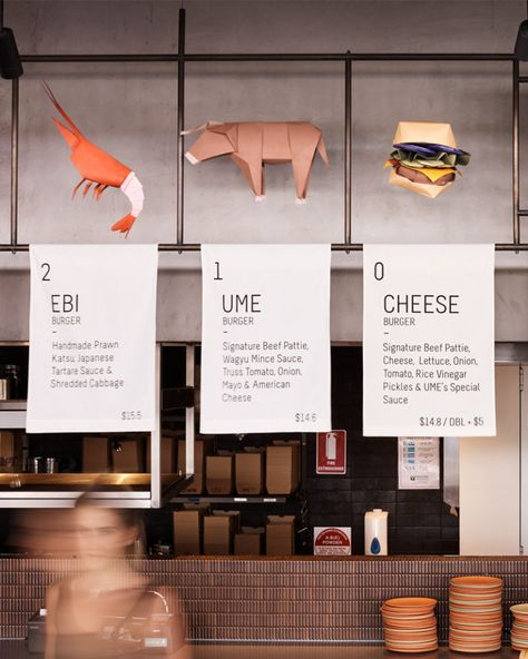 Origami inspired menu icons for UME Burger's newest restaurant in collaboration with Amber Road Design.