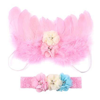 chinatera Newborn Angel Feather Wings Photography Props Headband
