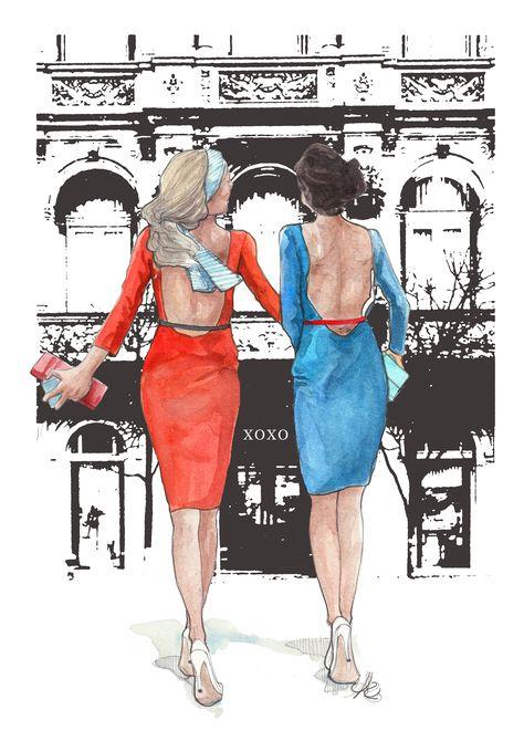 Gossip girl, Blair and Serena #fashionillustration #xoxo #bff #gossipgirl