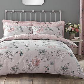 FLORAL PAISLEY GREY COTTON BLEND REVERSIBLE SUPER KING DUVET COVER