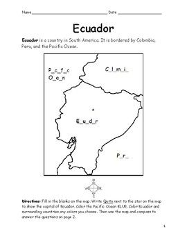 Ecuador Printable Map To Color Fill In The Blanks Printable