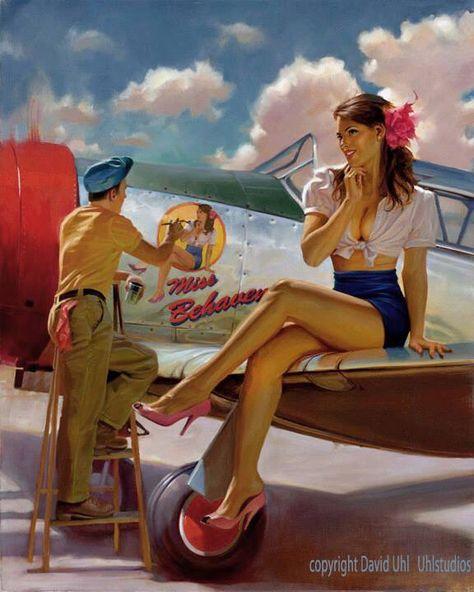 WW2 British Aviation Pin Up Girl Poster