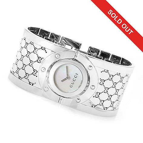 630-925 - Gucci Women's Twirl Swiss Made Quartz Sapphire Crystal Bangle Bracelet…