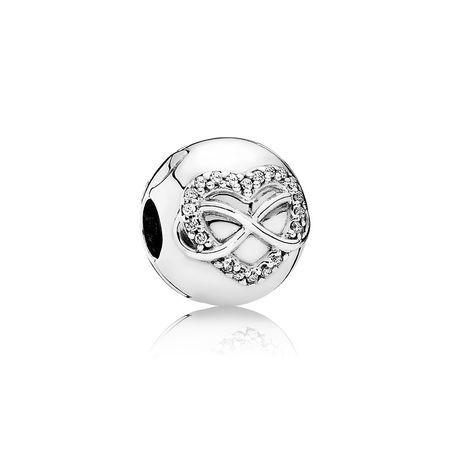 Infinity Heart Clip, Clear CZ 791947CZ   Pandora earrings ...