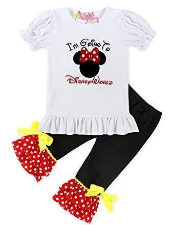 Bébé filles rouge leggings avec minnie mouse détail