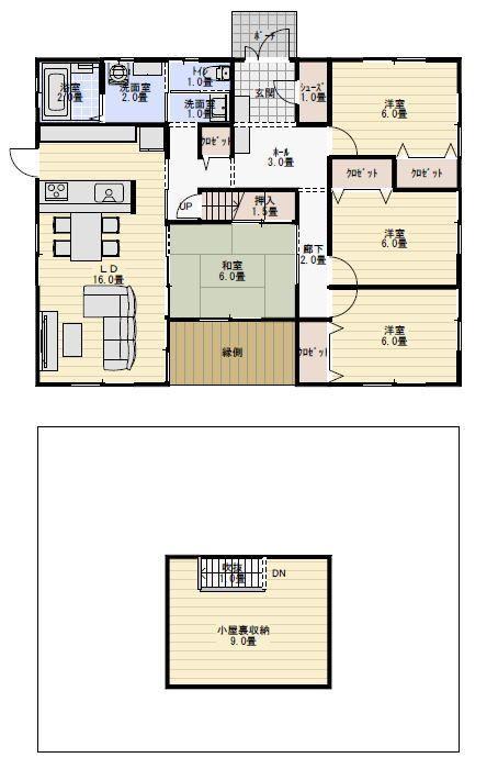 30坪4ldk屋根つき縁側のある平屋の間取り図 平屋間取り 間取り図