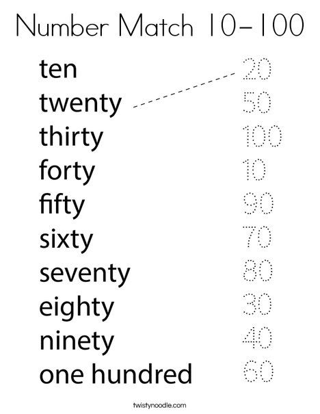 Number Match 10 100 Coloring Page Twisty Noodle Number Words Worksheets English Activities For Kids Kids Math Worksheets Preschool number worksheets 100