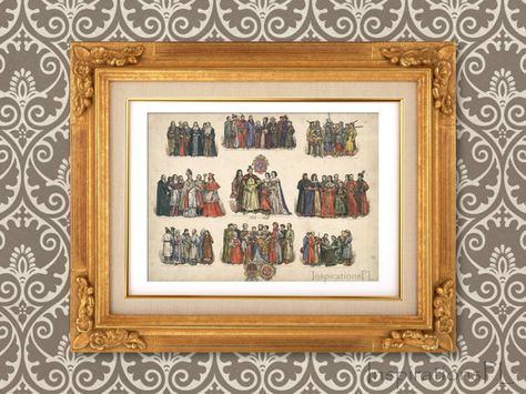 Digital Vintage Illustration Digital Download Printable Historical Costumes Poland XVII Century Eastern Europe Jan Matejko Ink & Watercolor 9/10 $2.95 by InspirationsPL