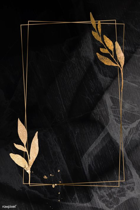 Christmas golden rectangle frame on black marble background vector | premium image by rawpixel.com / Adj