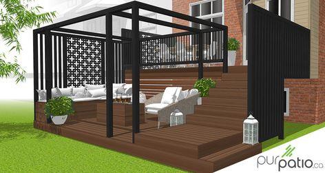 Design personnalisé pour un couple qui a une maison de ville et qui voulait une terrasse intime. Le patio à deux paliers permet de maximiser l'espace et de créer un rangement en dessous du plus haut palier. Les paravents en cèdre avec panneaux en aluminium intégré sont une façon originale et tendance de créer de l'intimité. Les motifs géométriques renforcent le style contemporain de l'aménagement.  #design3D #designpersonnalisé #patiodesign #deckdesign #paravent #intime #privacywall #purpatio