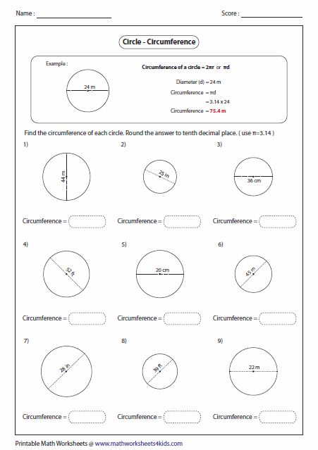 math worksheet : calculate circumference and area of circles a  new math  : Circumference Worksheet