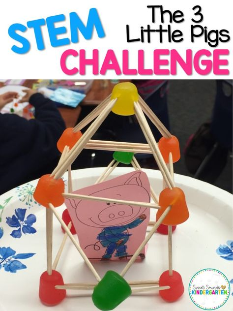 3 Little Pigs Activities, Steam Activities, Preschool Activities, Stem Preschool, Preschool Supplies, Three Little Pigs Story, Kindergarten Stem, Kindergarten Projects, Pig Crafts