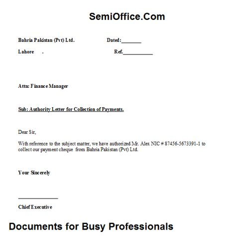 authority letter for payment collection free download - cheque payment receipt format in word