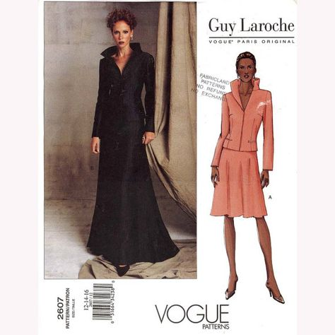 Vogue 2607 Guy Laroche Designer Evening or Cocktail Jacket and Skirt Suit Sewing Pattern by DRCRosePatterns on Etsy