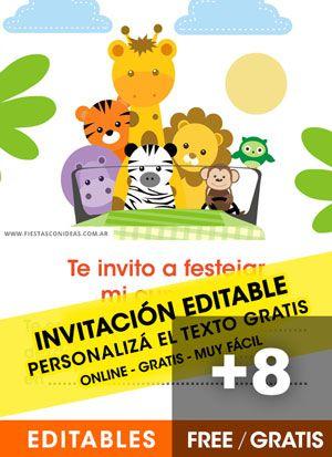8 Invitaciones De Animalitos De La Selva Gratis Free Para