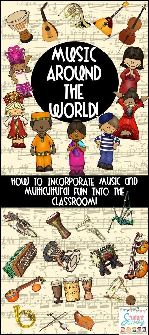 By integrating music into your classroom, you are introducing a new take on that subject. Music is relating and filled with emotion. When learning about a new culture, why not show your students the music, activities, and customs of that culture. Multicultural Classroom, Multicultural Activities, Diversity In The Classroom, Preschool Music Activities, Music Lesson Plans, Music And Movement, Music Classroom, Music Teachers, Music For Kids