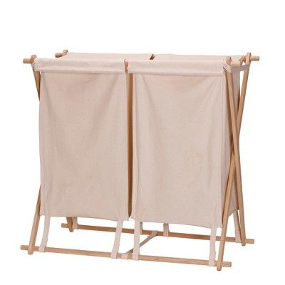 Household Essentials Wood X Frame Double Laundry Sorter Laundry