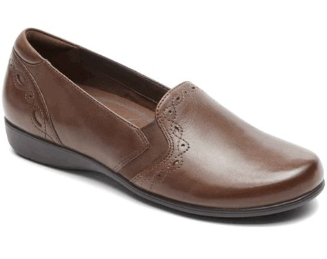 Aravon Brown Leather Loafers by New