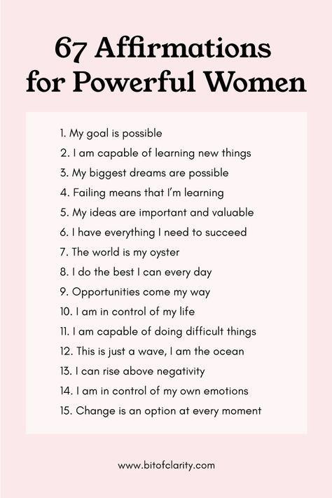 67 Positive Affirmations for Powerful Women. Use these to boost self-esteem, confidence, and motivation. #girlboss #bossbabe #affirmations #positiveaffirmations #selflove