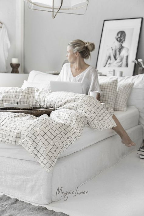 Linen Bedding Set In Charcoal Grid Windowpane Pattern King Queen Duvet Cover With 2 P