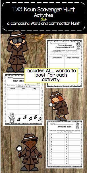 Compound Words And Contractions Activity Scavenger Hunt Worksheets Nouns Compound Words Compound Words Activities Nouns